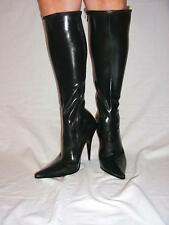 "BLACK OR RED LATEX RUBBER HIGHS BOOTS  SIZE 5-16 HEELS-5,5""- POLAND  FS412"