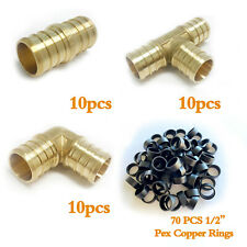 "(100 PCS) 1/2"" PEX CRIMP FITTINGS with Copper Rings -CERTIFIED LEAD FREE BRASS"