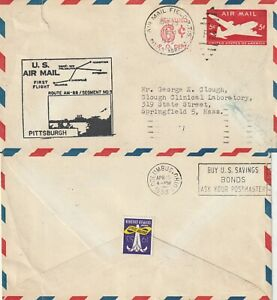 US 1953 AM 88 FIRST FLIGHT FLOWN AIR MAIL COVER PITTSBURGH TO COLUMBUS