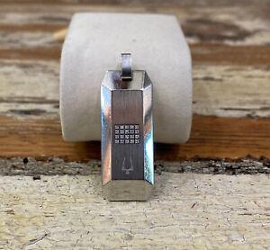 Rare Bulova Men's 20 1.0mm White Diamonds Steel Dog Tag Pendant