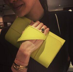 New with tag Authentic PERRIN Paris L'Asymétrique galoves clutch lime $995