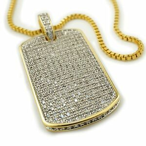 18K Gold Plated Out Iced CZ Dog Tag Stainless Steel Box Chain Pendant Necklace