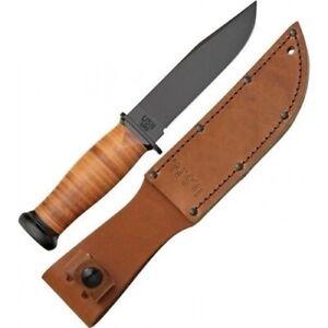 Ka-Bar Kabar Mark I Knife Straight Edge + Brown Leather Sheath 2225 KA2225