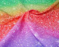 Glitter look rainbow  100 % cotton digital print