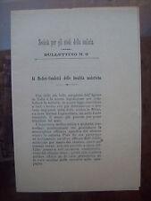 1903 CIRCOLARE PER MEDICI ZONE MALARICHE IN ITALIA. SOCIETA' STUDI SULLA MALARIA