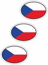 "3x Czech Republic Oval Flag Stickers (0.8""x1.2"") Bumper Helmet"