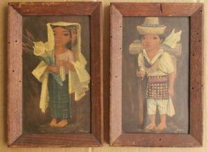 (2) Framed Phil Paradise (1905-1997) Maria & Tomas Framed Guatemala Art Painting