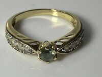 Exquisite Vintage 9ct 375 Yellow Gold & Blue Topaz, Diamond Paste Ring 2.7g