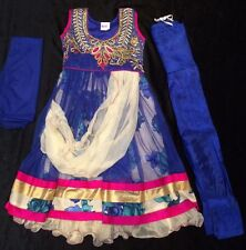 "24"" Age 3-4 Kids Bollywood Salwar Kameez Indian Girls Fancy Dress Blue Magenta"