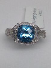 10K White Gold Swiss Blue Topaz and Pave Set Diamond Ring Size 7.25 December