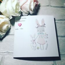 Bunny & Me Birthday Card 1st 2nd 3rd 4th Handmade Card Personalised