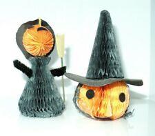 Vintage Halloween Honeycomb Paper Decoration Lot of 2 Pumpkin & Witch