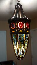 Tiffany Studios Antique Style Turtleback Favrile Tile Stained Glass Hanging Lamp