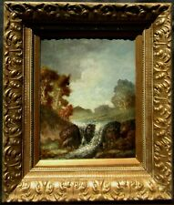 Hudson River School Impressionist Waterfall View Signed Antique Oil Painting NR
