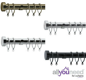 NEW!28mm Metal Complete Curtain Pole Sets with Stud End Cap Finial 4 colours