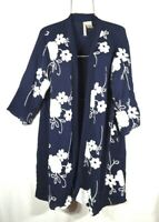 New Navy Blue 2X Floral Embroidered Long Open Front Cardigan Wrap Duster 2X NWT