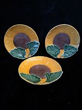 "Set of 3 Bordallo Pinheiro Sunflower 8"" Plates"