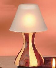 NEW-LAMP SHADE TEALIGHT CANDLE HOLDER WITH FANCY TWO TONE WOOD STAND+BOX-88796
