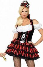 Sexy Pirata Donna Costume Corsara Mini Abito rosso nero stringato  Leg Avenue S