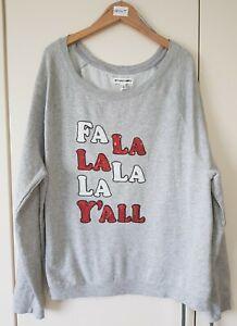 Bethany Mota Women's Jumper Size L Grey Sequin 'Fa La La La Y'all' Casual Sweat