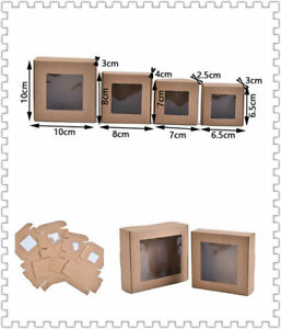 10pcs Kraft Paper DIY Gift Box With Clear PVC Window Cookie Cake Soap Packaging