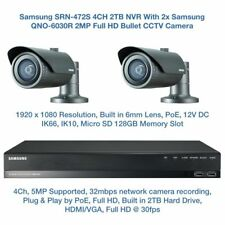 Samsung 2MP Network POE HD 1080p 2 Bullet Camera's & 4CH PoE NVR CCTV Package