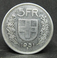 SWITZERLAND 5 FRANCS 1931 SUISSE SILVER COIN  #976