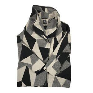 Ladies Desigual Geometric Cape Coat Jacket Black Grey White Size 14 Atmosphere