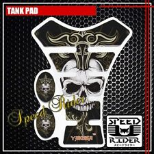 TANK PAD PROTECTOR STICKER DECAL GEL GUARD TP001 SKULL BLACK WHITE GOLD HARLEY