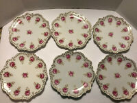 (6) Six C.T. Germany Carl Tielsch Altwasser Antique Porcelain Pink Roses Plates