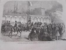 Gravure 1864 - Les ambassadeurs Japonais à Marseille