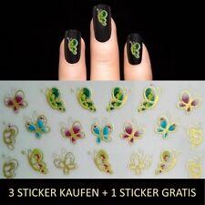 Nagelsticker Metallic Gold-Bunt Nail Sticker Aufkleber Tattoo Nageldesign Y197