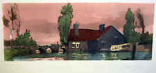 1930s Etching Signed NANCY Old Country House Bridge Lakescape View w/ Trees