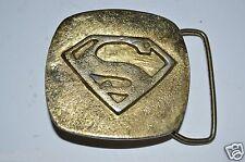 Vintage SUPERMAN Super Hero DC Comics Solid Brass Belt Buckle RARE