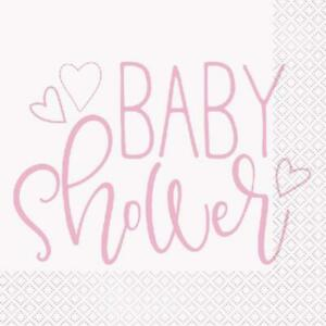 Baby Shower Pink Napkins - Pack of 16