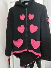 Living Dead Souls Hoodie Jacket Size XL Black With Pink Bows Great Condition