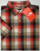 NWT $55 The North Face Short Sleeve Shirt Mens Red Brown Plaid Standard Fit