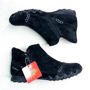 SKECHERS Women's Biker Ankle Boots Suede Earthy Chic Black Wide Width