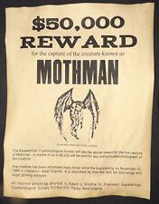 Mothman Wanted Poster, Halloween Decor, 8-1/2 x 11, party