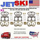Yamaha Outboard Triple Carburetor Carb Rebuild Kit V6 150 175 200 225 HP 86-95