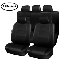 Car Seat Cover Front & Rear Full Set 11Pcs PU Leather Interior Protector Cushion