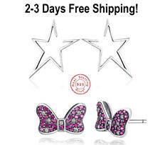 Star Wire Studs Earrings Mickey Bow Pin 100% Solid S 925 Sterling Silver Fashion