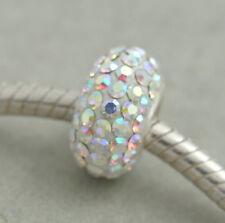 HANDMADE SILVER EUROPEAN Charm Bead for Bracelet H60 AUSTRIAN Crystal WHITE SNOW