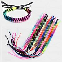 Handmade Woven Neon Bracelet Rainbow Coloured String Anklet Rave Friendship Cuff