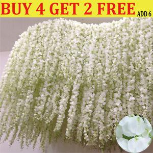 2M Artificial Silk Fake Flower Ivy Garland Vine Wedding Wisteria Leaf Hanging-QN