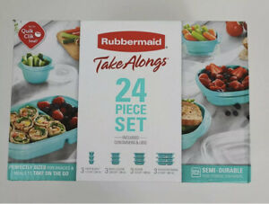 New Rubbermaid TakeAlongs Teal 24 Piece Set Lids & Containers Food Storage Meal