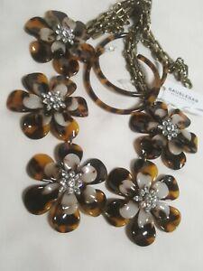 Bauble Bar Faux Tortoise Shell Rhinestone Flower Panel Necklace, Earrings Set