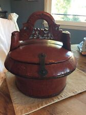 Antique Red Chinese Wedding Basket With Carved Ornate Handle