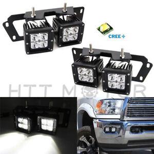 80W CREE Dual LED Pods w/Foglight Location Bracket Wire For Dodge RAM 1500 2500