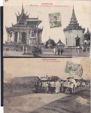 2 CPA COCHINCHINE retour d enterrement et PNOM PENH  pagode royale